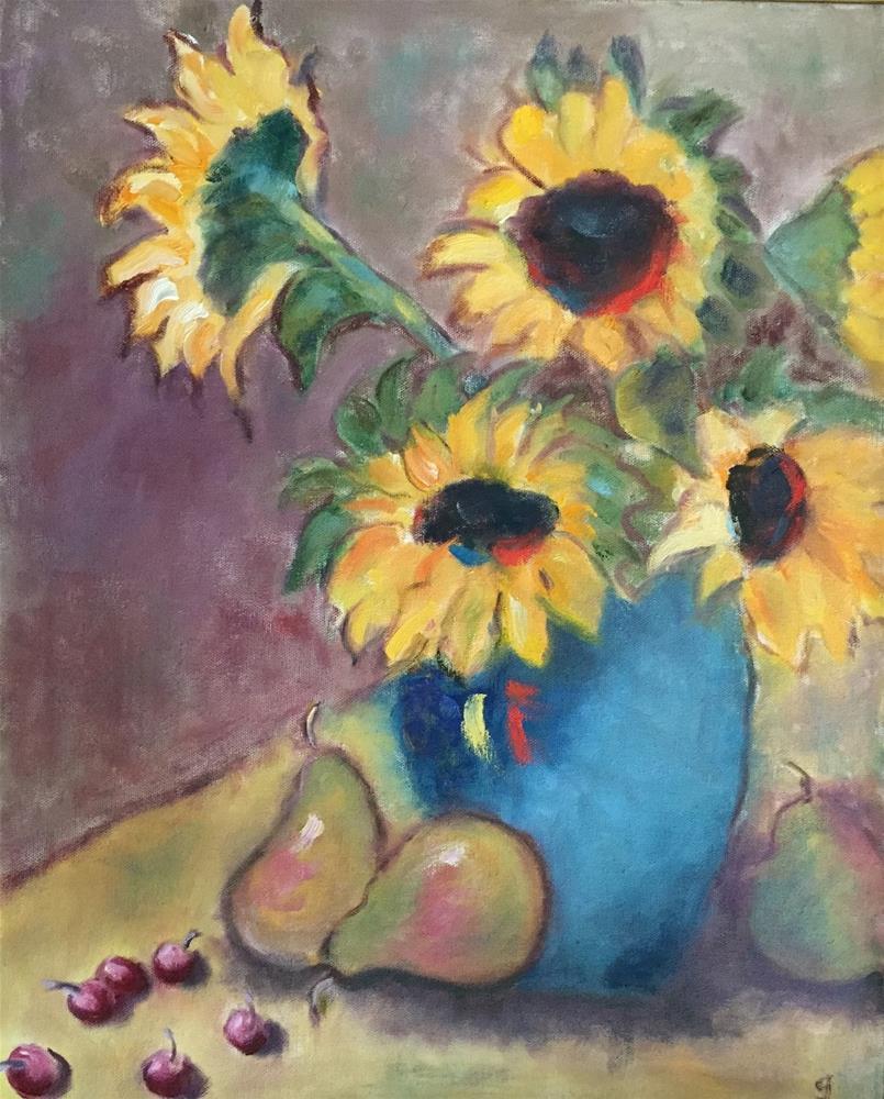 """Sunflowers, Pears, and Cherries"" original fine art by Gayle Lambeth"