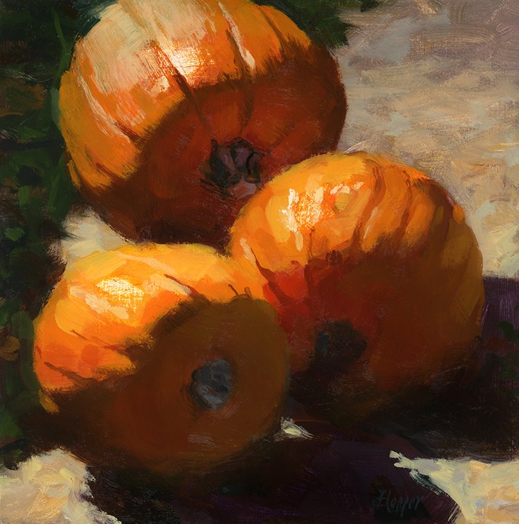 """Three Kula Pumpkins"" original fine art by Joanne Hopper"