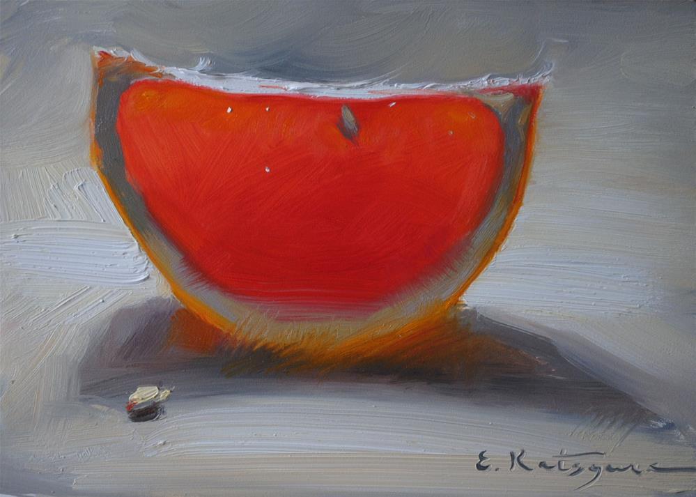 """Red Grapefuit slice"" original fine art by Elena Katsyura"