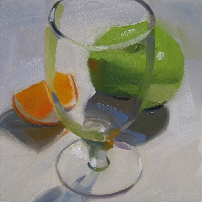 """Beer Glass and Fruit"" original fine art by Robin Rosenthal"