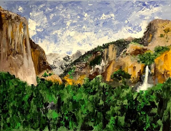 """Yosemite Valley Acrylic Palette Knife Landscape Painting"" original fine art by Mark Webster"