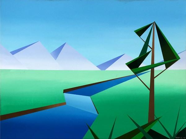 """Mark Webster - Riverfield - Abstract Geometric Landscape Painting"" original fine art by Mark Webster"
