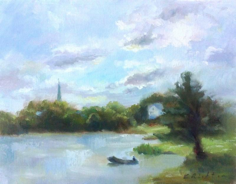 """""""Morning Lake"""" original fine art by Keiko Richter"""