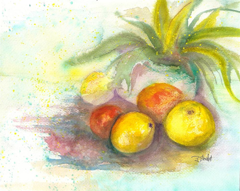 """""""8x10 Citrus Still Life with Potted Plant loose style Watercolor by Penny StewArt"""" original fine art by Penny Lee StewArt"""