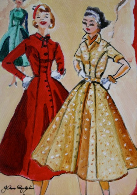 """Holiday Coat Dresses"" original fine art by JoAnne Perez Robinson"