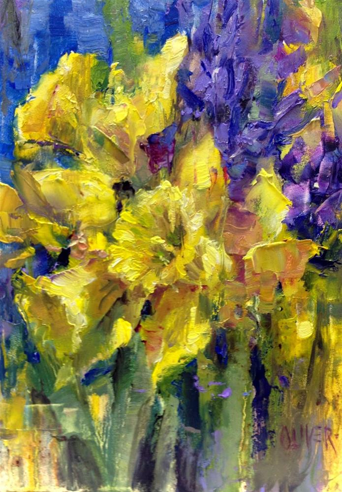 """Daffodils and Hyacinths - Study"" original fine art by Julie Ford Oliver"