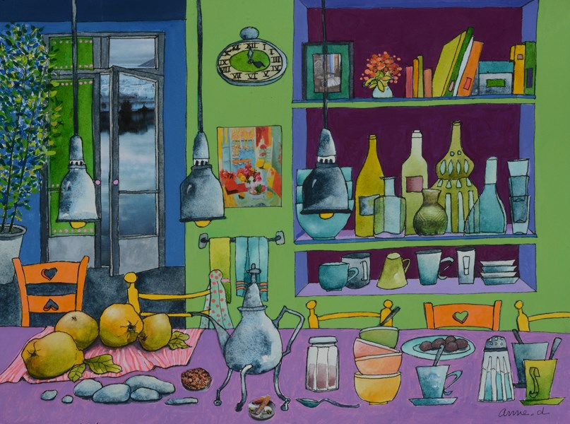 """Goûter en Alaska - Tea Time in Alaska"" original fine art by Anne Ducrot"