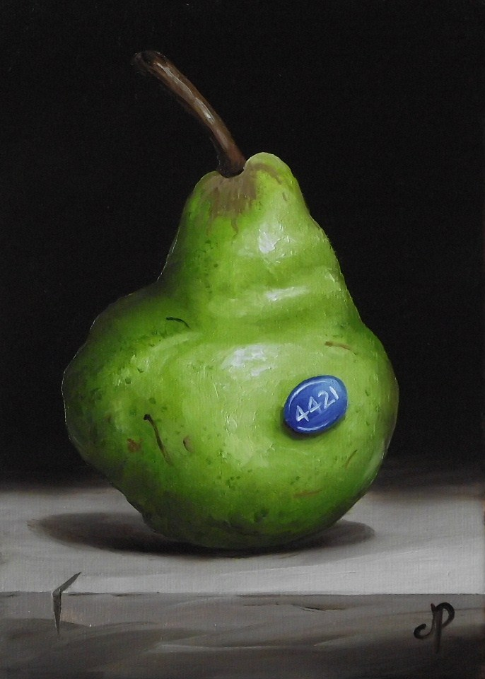 """Packham and a Beurre Hardy Pear"" original fine art by Jane Palmer"