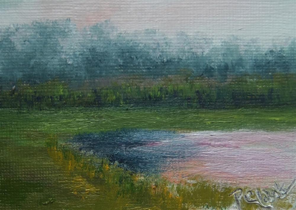 """Garbry Sunset_2.5 x 3.5_OIL_Landscape"" original fine art by Donna Pierce-Clark"