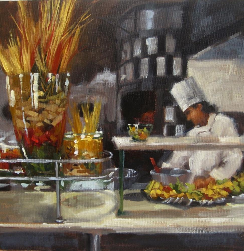 """""""Pasta Prep"""" original fine art by Karen Werner"""
