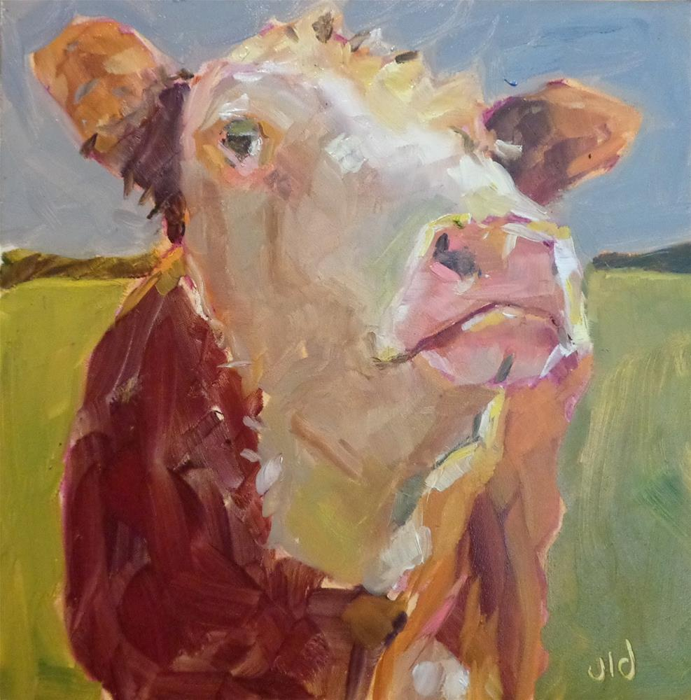 """""""Cow 72 KING OF EVERYTHING"""" original fine art by Jean Delaney"""