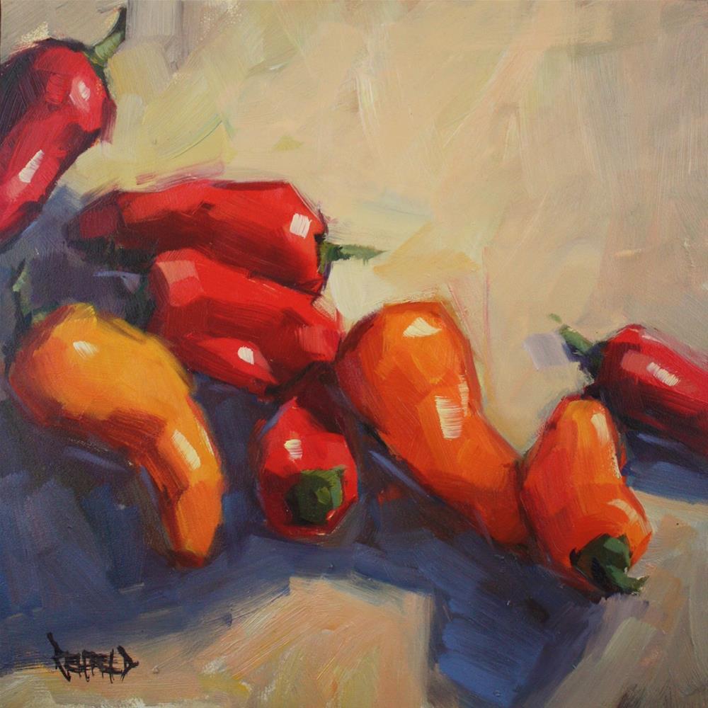 """Big Pile of Peppers"" original fine art by Cathleen Rehfeld"