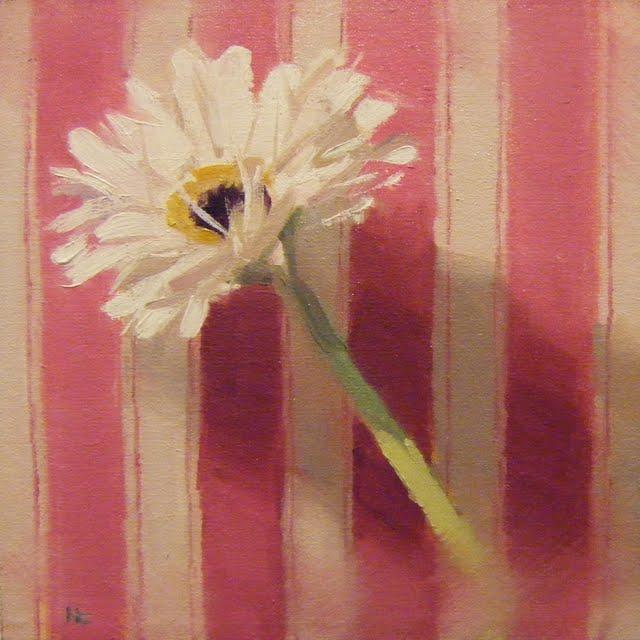 """GERBERA AND STRIPES"" original fine art by Helen Cooper"