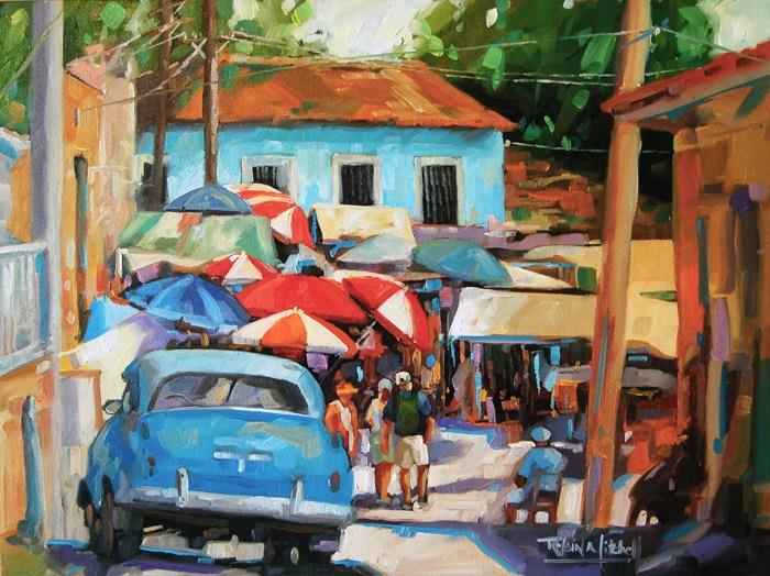 """No 489 Sunshine in the Market"" original fine art by Robin J Mitchell"