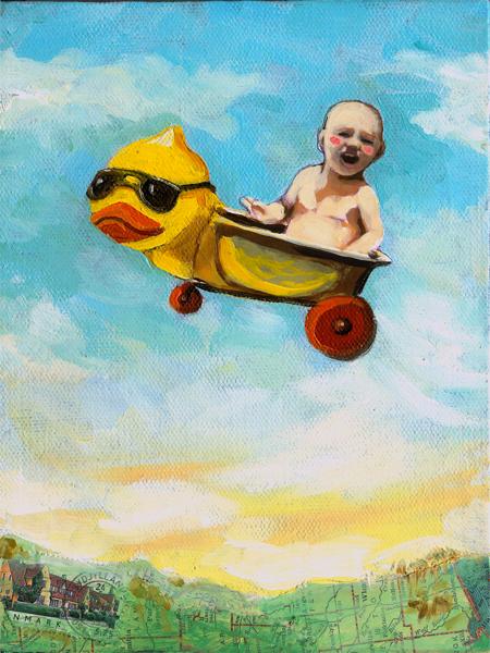 """Take Flight - Mixed media oil painting"" original fine art by Linda Apple"