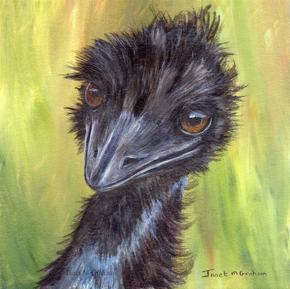 """Emu"" original fine art by Janet Graham"