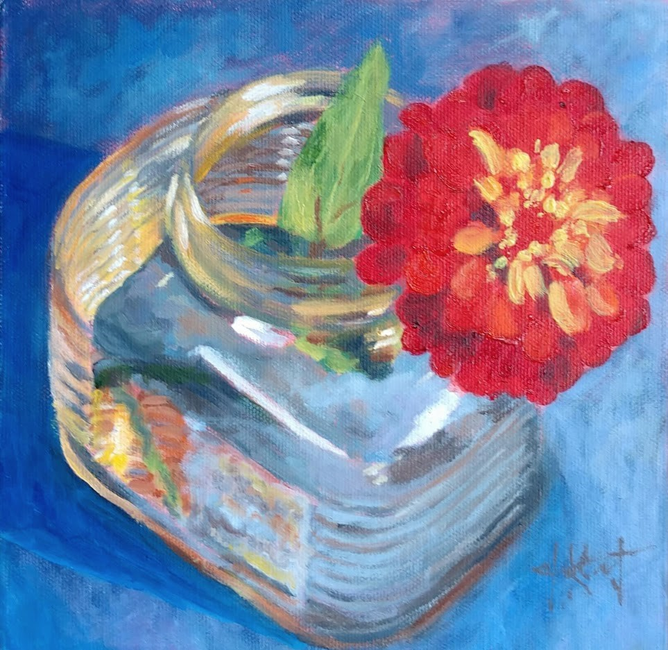 """Zinnia Jar"" original fine art by Jennifer Krentz"