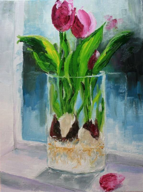 """Tulips on My Windowsill"" original fine art by Jean Nelson"