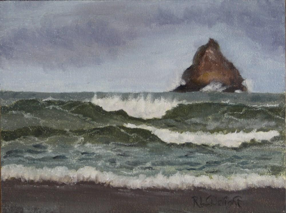 """""""Incoming at Arch Cape"""" original fine art by R.L. Delight"""