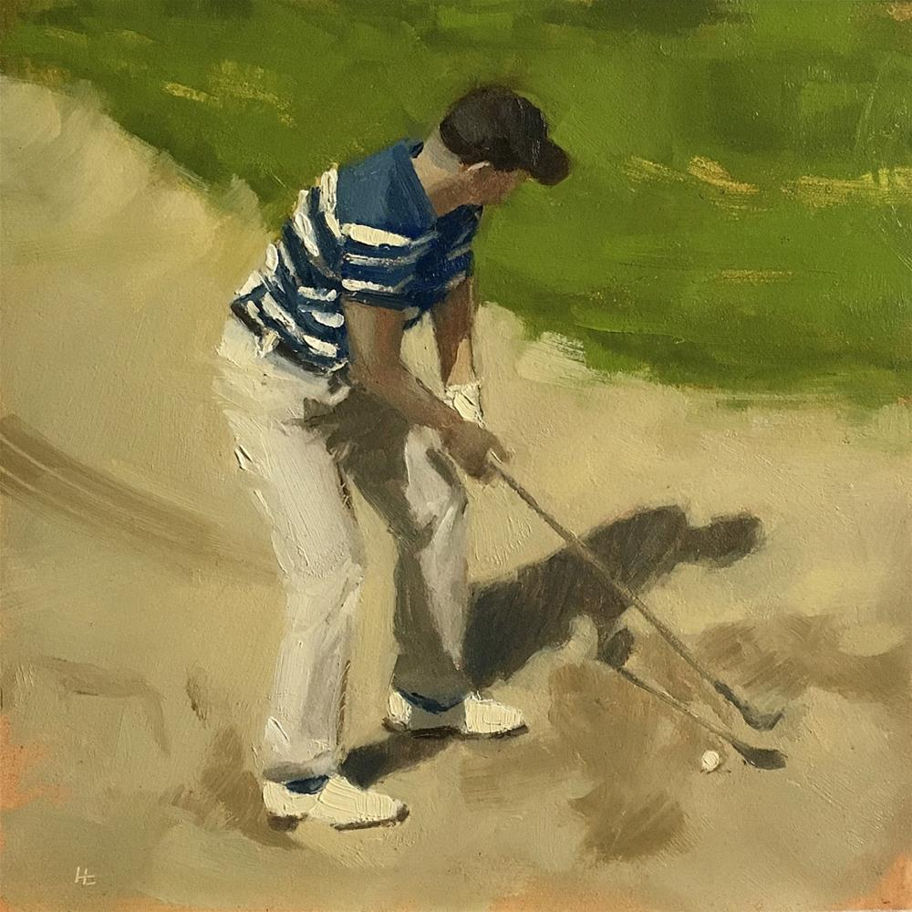 """GOLF, Bunker Shot"" original fine art by Helen Cooper"