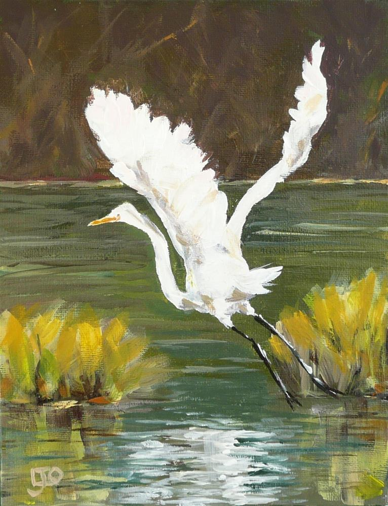 """Egret"" original fine art by Leanne Owen"