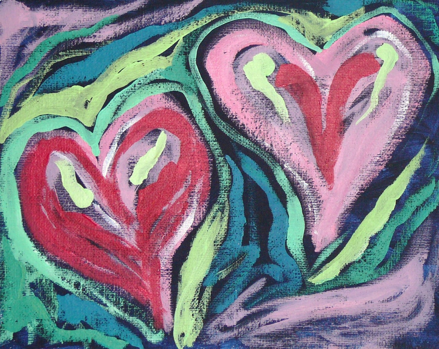"""Two Hearts"" original fine art by Rachel  Holland"