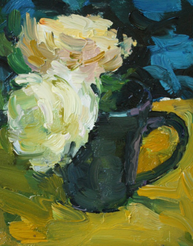 """""""Roses in Blue Cup"""" original fine art by Kathryn Townsend"""