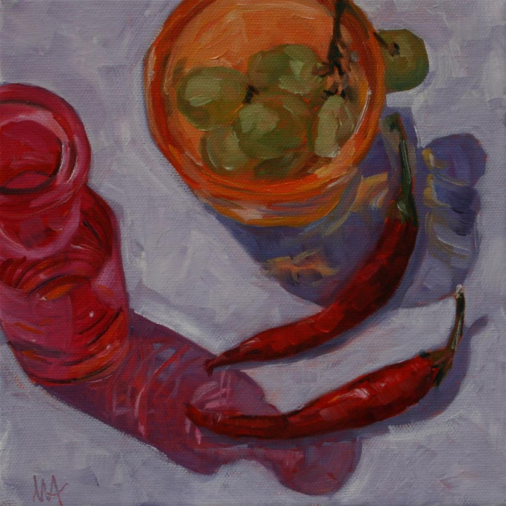"""""""Chillis and Grapes"""" original fine art by Aniko Makay"""