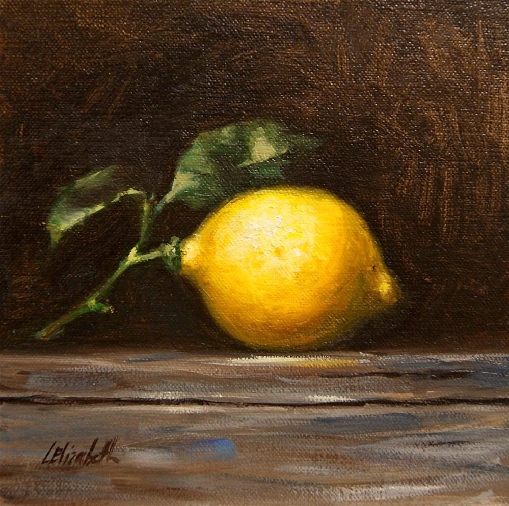 """Meyer Lemon Still Life, 6x6 Oil on linen Panel"" original fine art by Carolina Elizabeth"