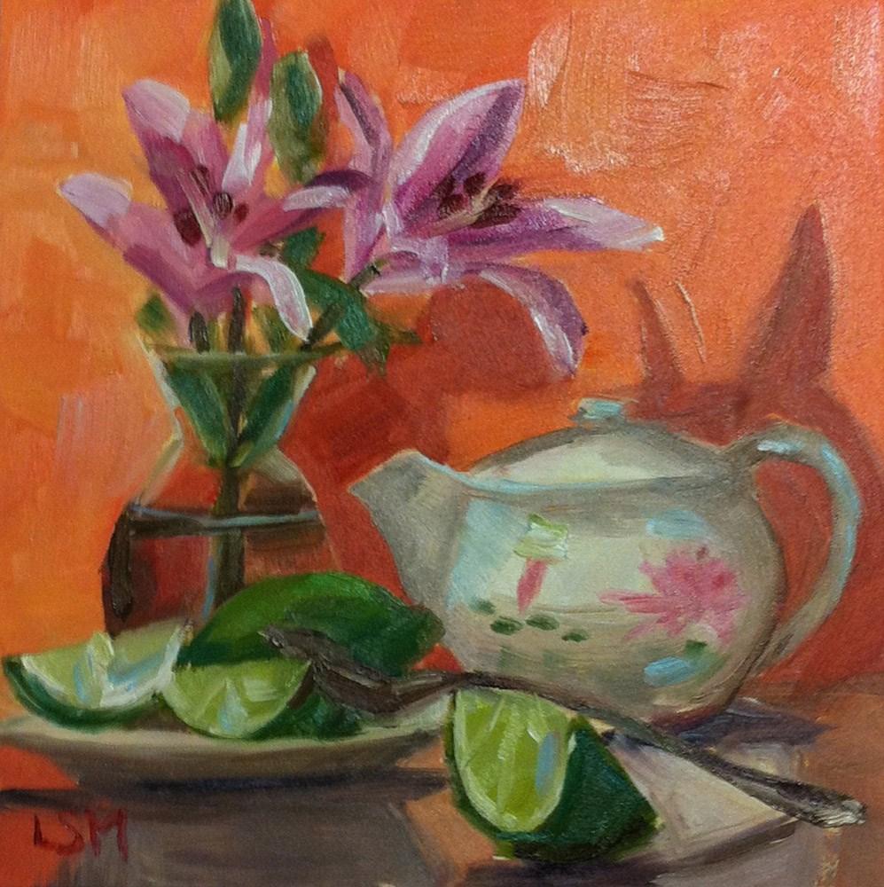 """Lilies, Tea and Limes"" original fine art by Linda Marino"