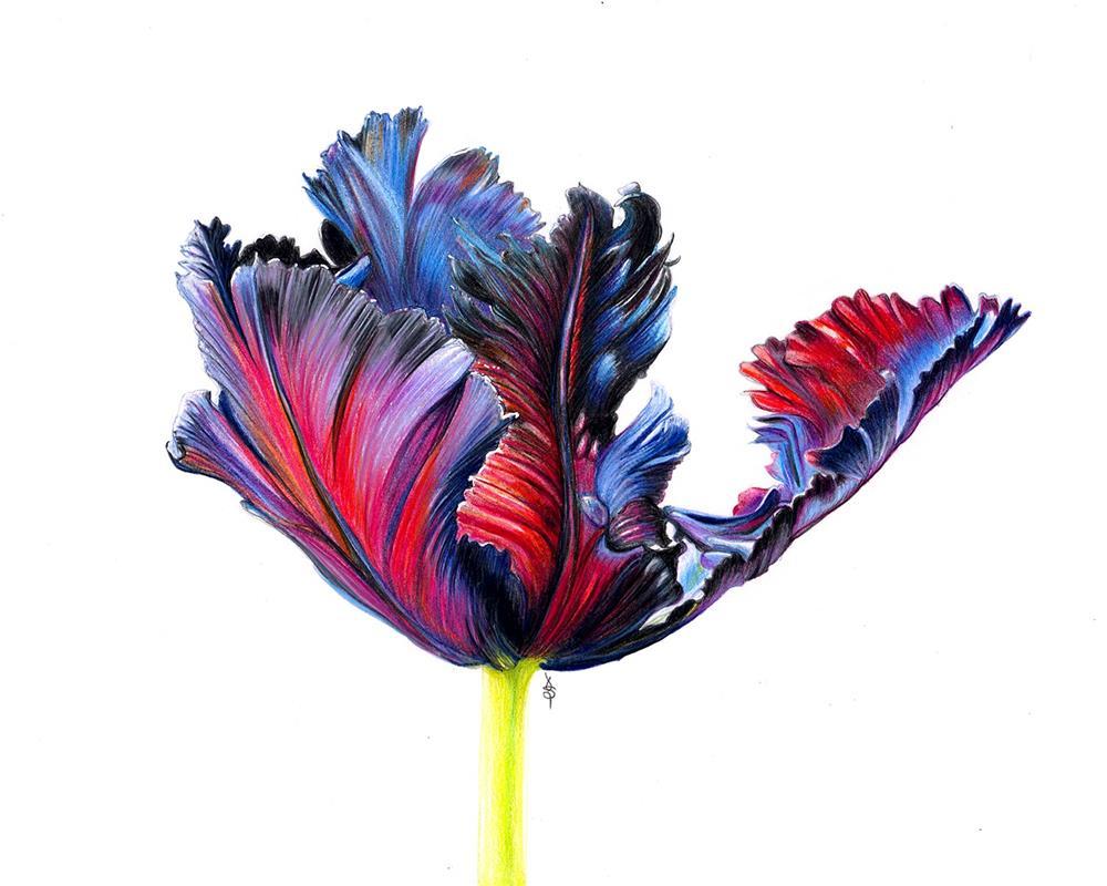 """Flower on Fire"" original fine art by Valorie Sams"