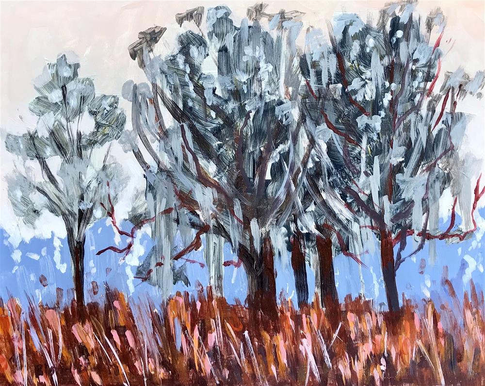 """""""Summer Sale Paintings Winter Trees"""" original fine art by Linda Blondheim"""