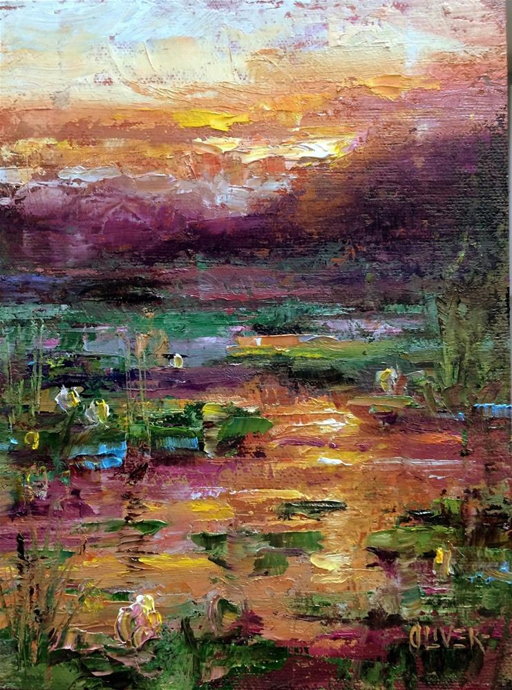 """""""Reflections On The Lily Pond"""" original fine art by Julie Ford Oliver"""