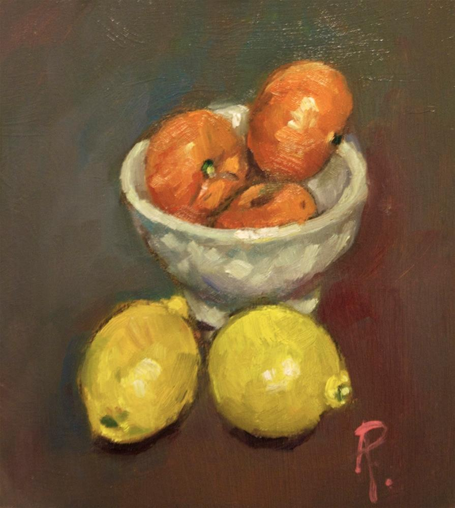 """Citrus Fruits and Bowl"" original fine art by Andre Pallat"