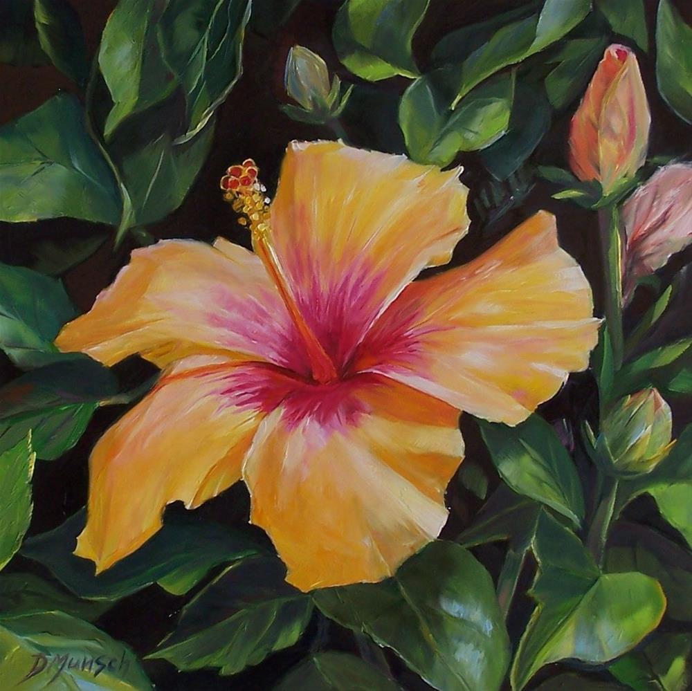 """""""Hibiscus Sunset"""" original fine art by Donna Munsch"""