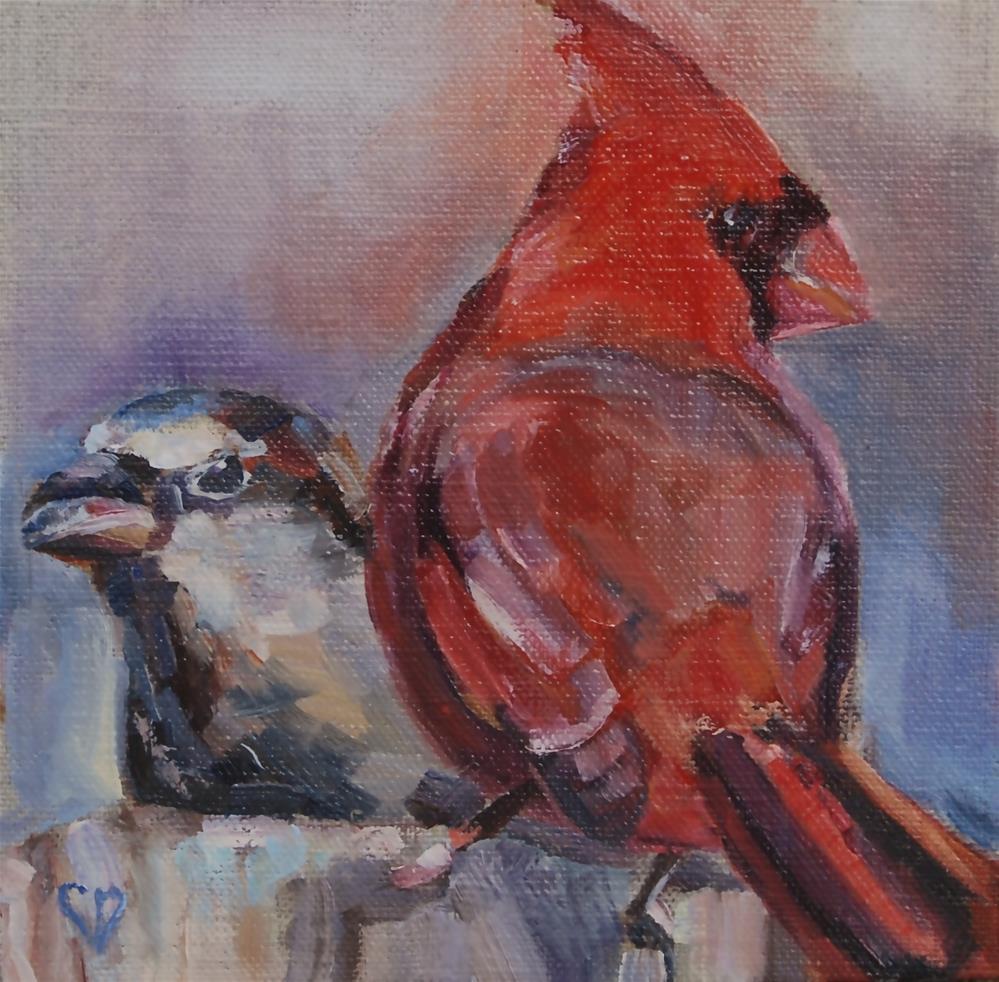"""Cardinal and Sparrow Painting"" original fine art by Carol DeMumbrum"