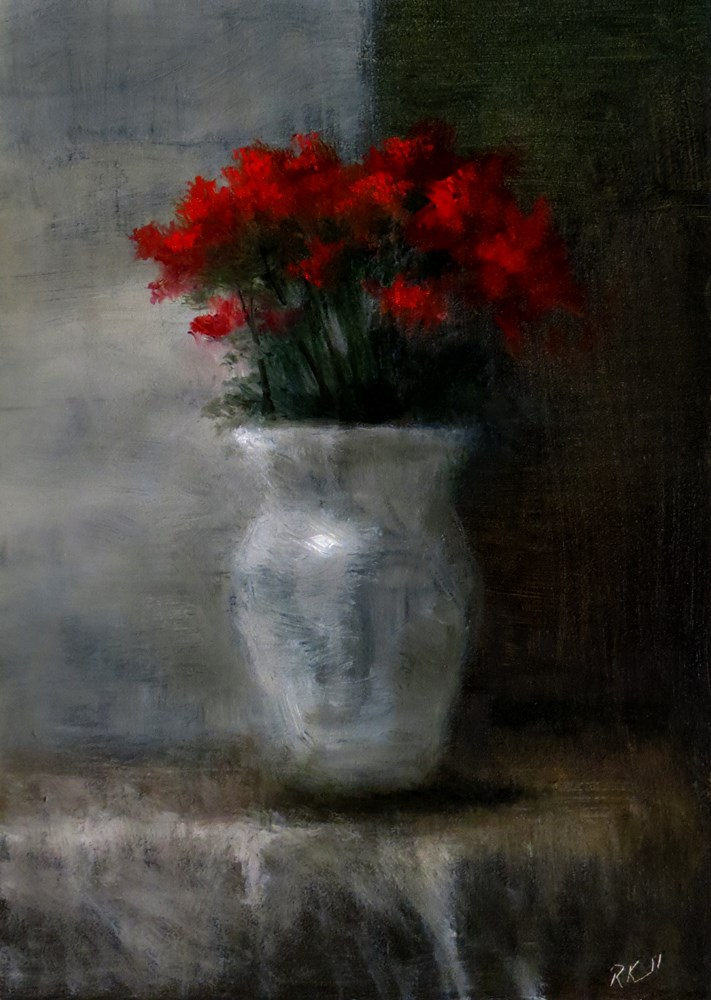 """""""Roses in a White Vase"""" original fine art by Bob Kimball"""