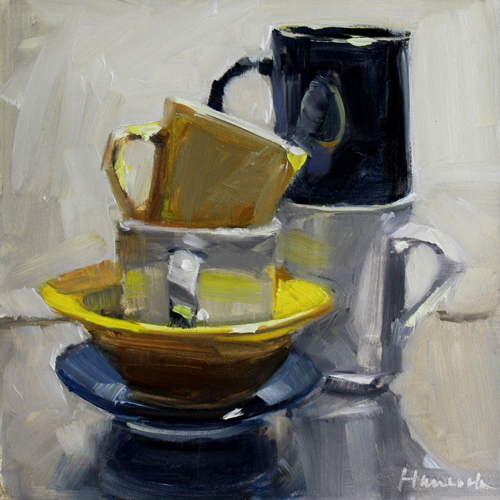 """Cup Stack Yellow Bowl Blue Saucer"" original fine art by Gretchen Hancock"