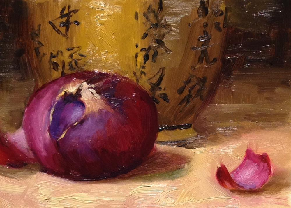 """""""Purple Onion and Chinese Urn"""" original fine art by Dorothy Woolbright"""