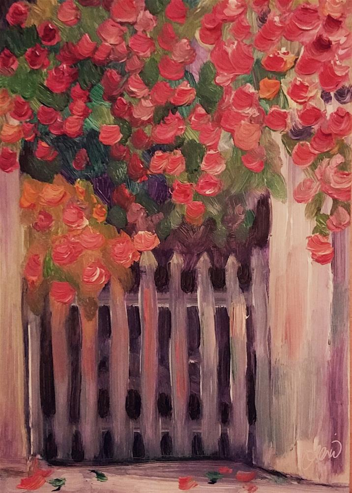 """Gate Overgrown"" original fine art by Leni Tarleton"