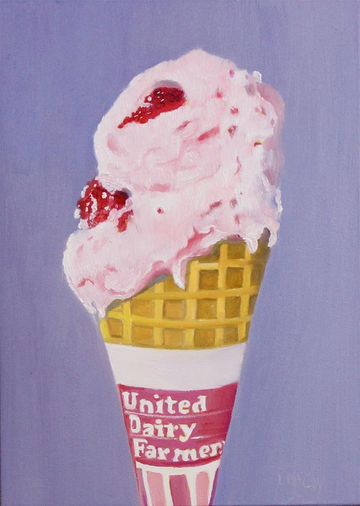 """Strawberry Ice Cream Cone"" original fine art by Linda McCoy"