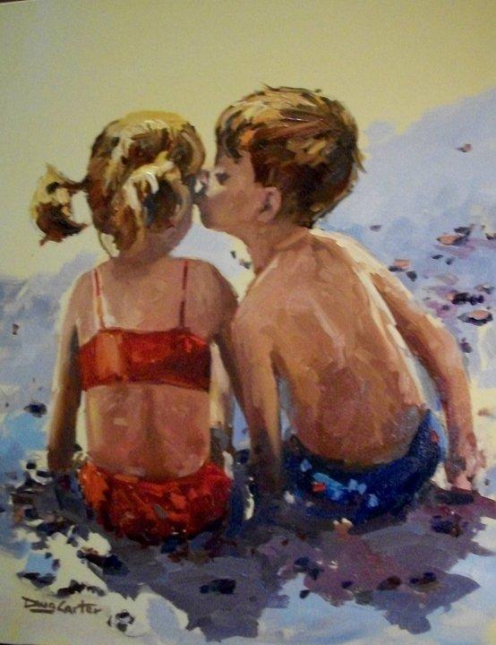 """""""First beach kiss"""" original fine art by Doug Carter"""