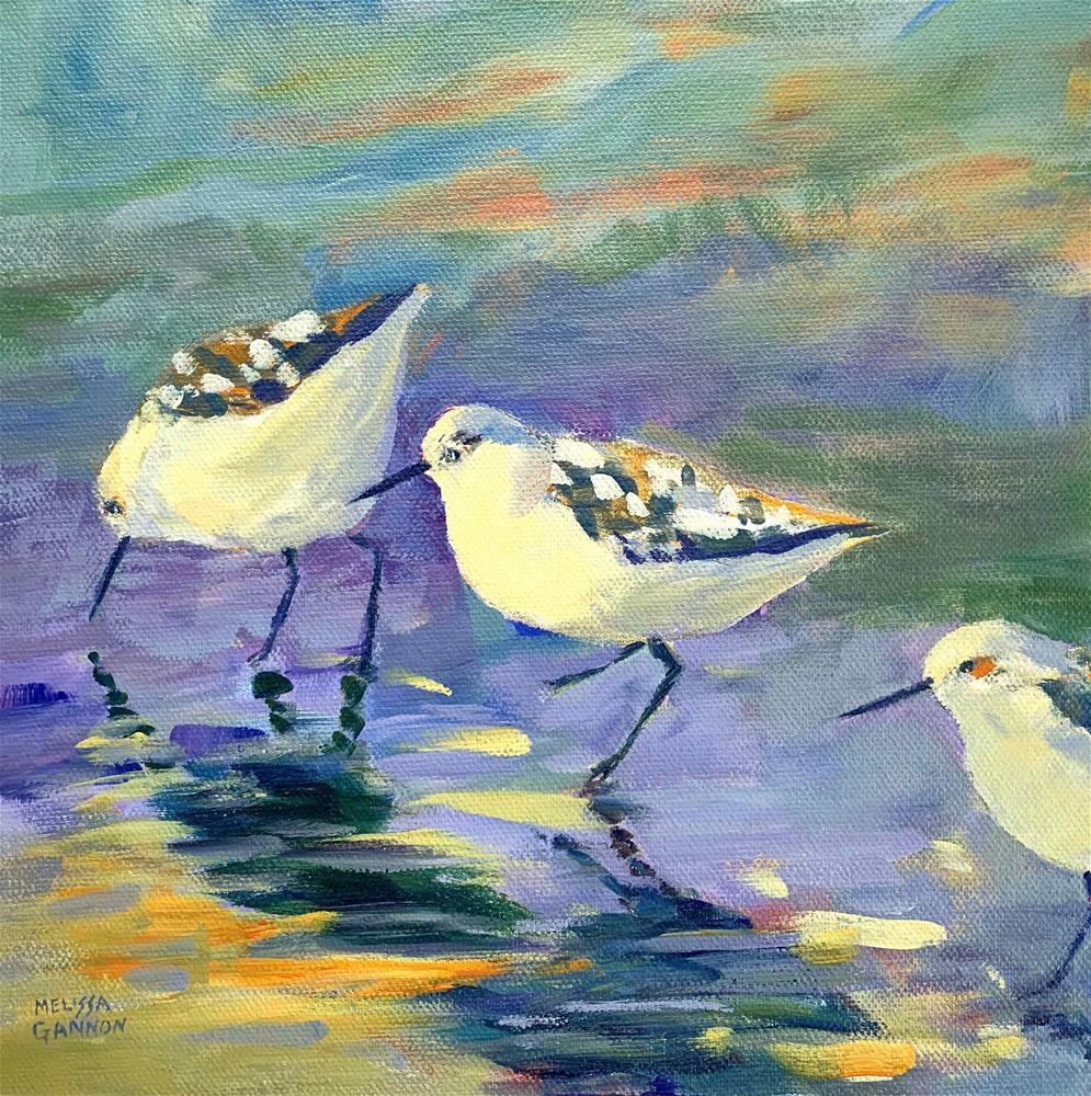 """Beach Birds & Purples"" original fine art by Melissa Gannon"