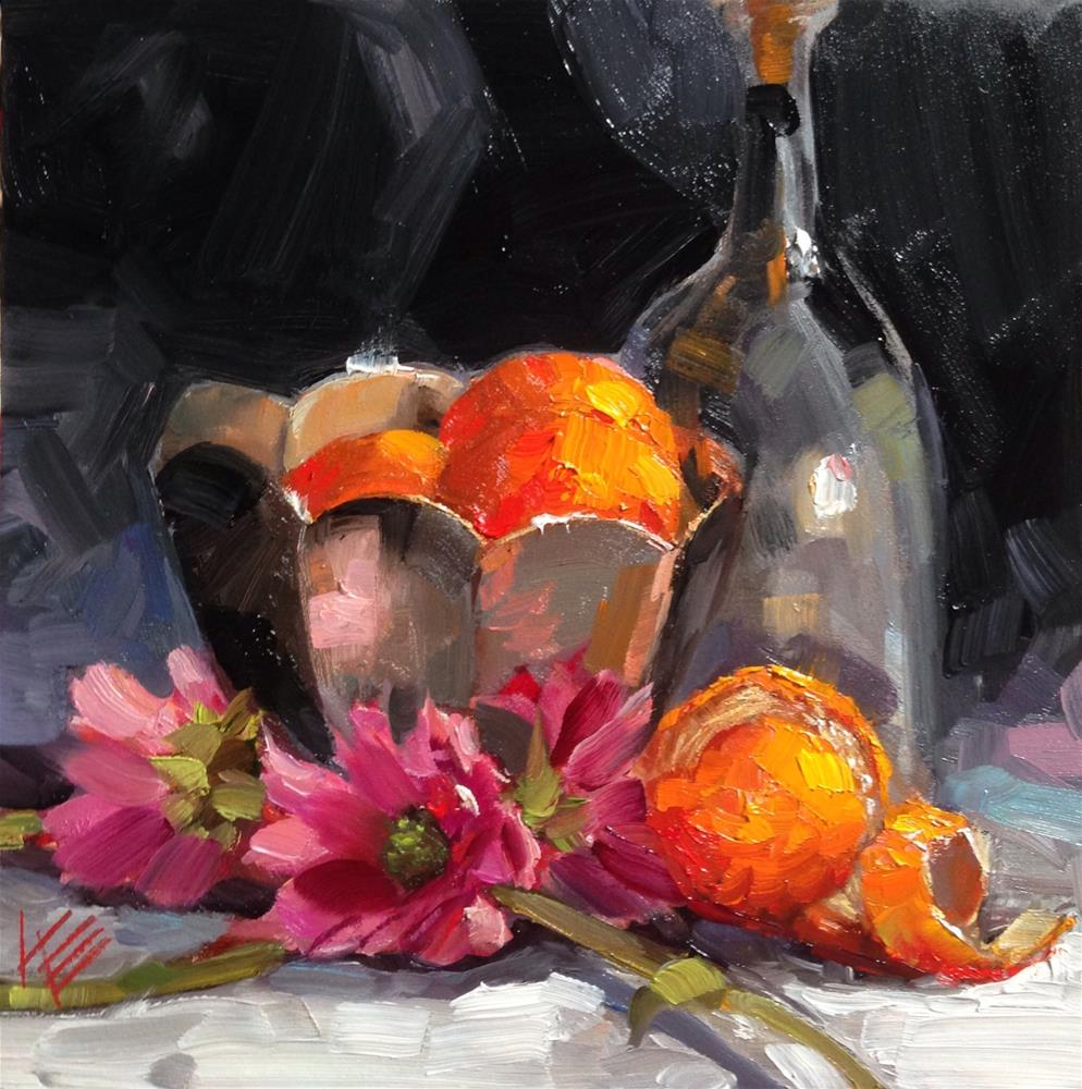 """Oranges & Daisies with Cartier"" original fine art by Krista Eaton"