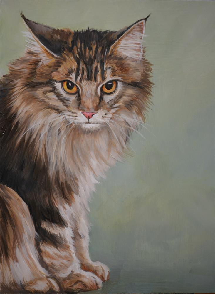 """Maine Coon Cat"" original fine art by Charlotte Yealey"