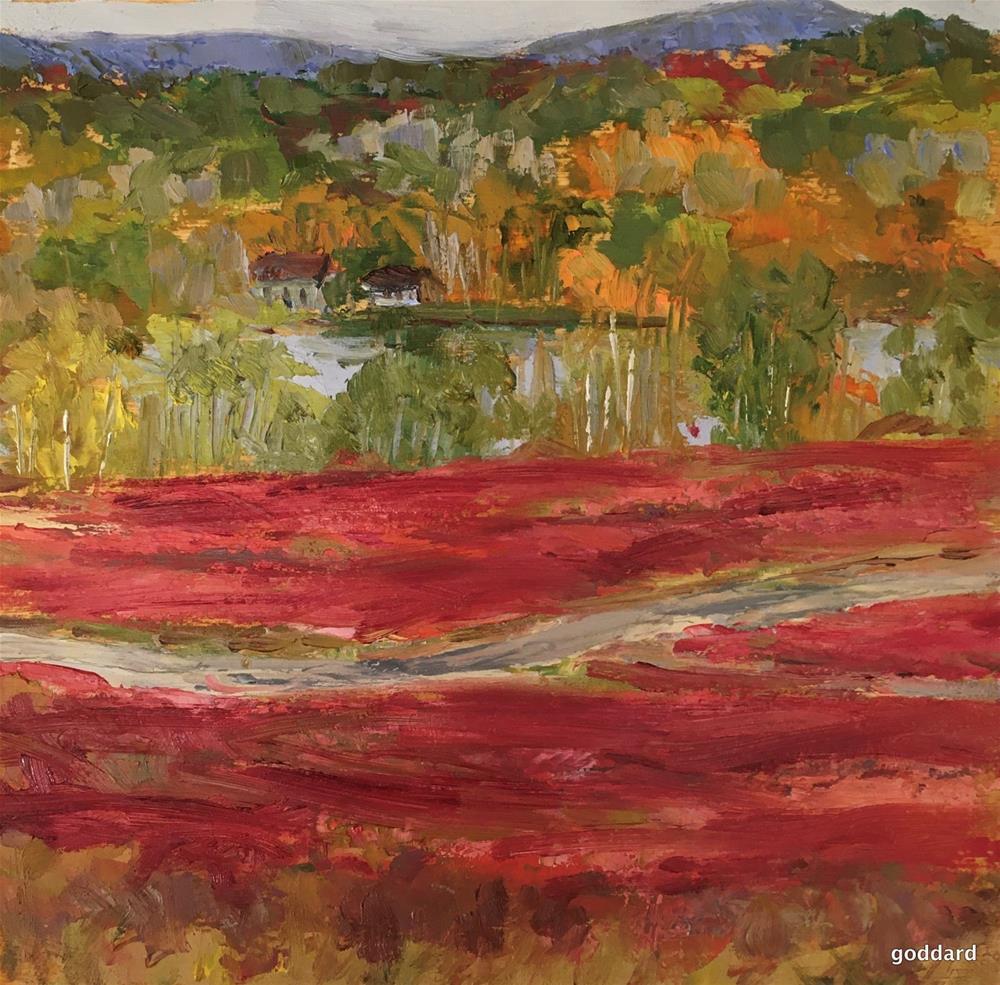 """Red Blueberry Barrens"" original fine art by Shari Goddard Shambaugh"