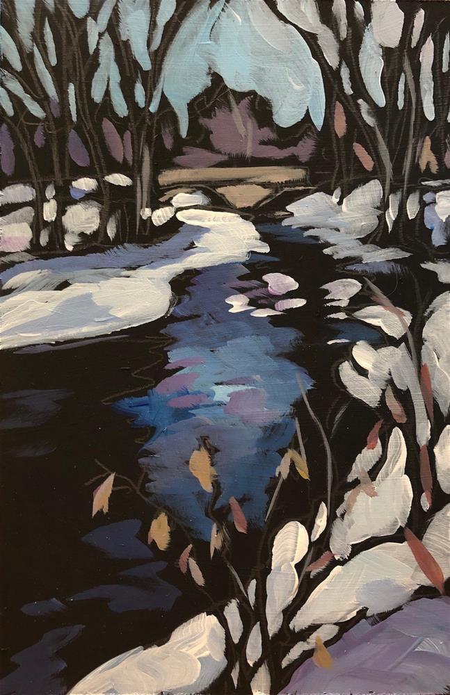 """Snow Shine at the Creek"" original fine art by Kat Corrigan"