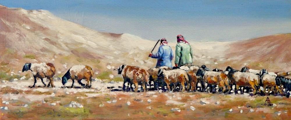 """Syrian shepherds and flock"" original fine art by Alix Baker PCAFAS AUA"