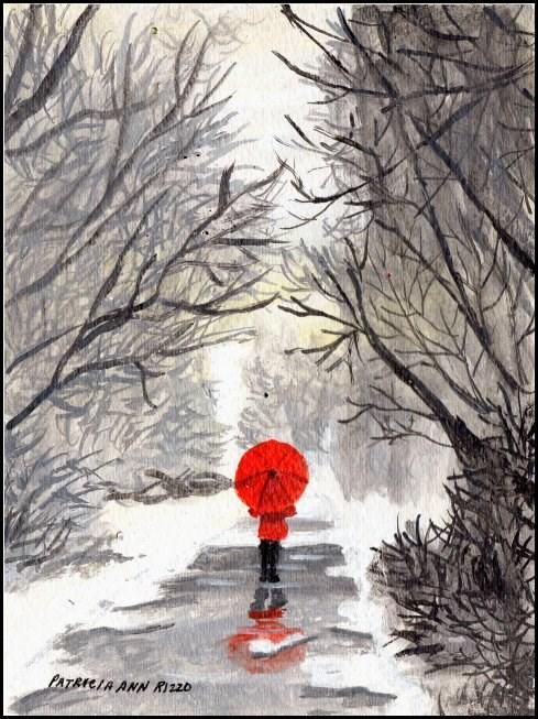 """""""Girl with the Red Umbrella 3"""" original fine art by Patricia Ann Rizzo"""