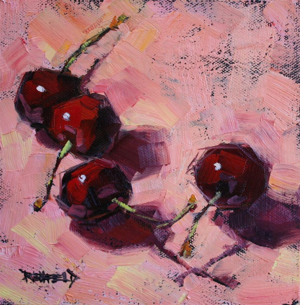 """Cherries On Pink"" original fine art by Cathleen Rehfeld"
